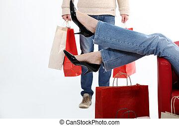 dvojice, nakupování, dohromady