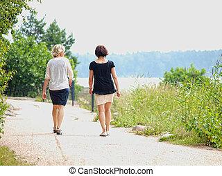 dvojice, o, ženy, chůze, čas, mluvící, dále, jeden, uvést do rozpaků cesta, v, léto