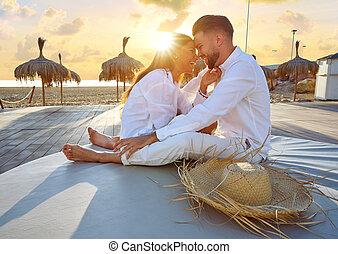 dvojice, pláž, mládě, východ slunce, prázdniny