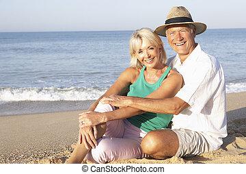dvojice, pláž, starší, povolit, sedění