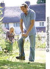 dvojice, pracovní, do, zahrada, doma, dohromady