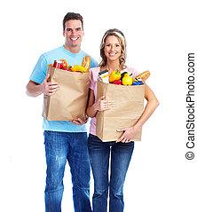dvojice, s, jeden, potraviny, bag.