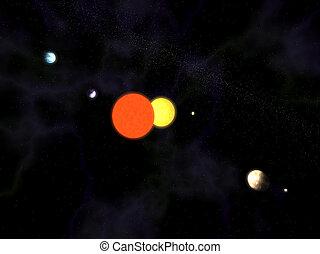 dvojitý, hvězda, systém, sluneční