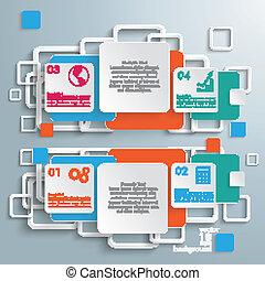 dvojitý, infographic, čtverhran, barevný