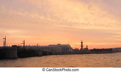 Dvortsovy bridge over Neva river in