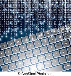 dwójkowa liczba, llustration, wysoki tech, klawiatura