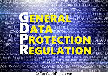 dwójkowy, data., błękitny, kodeks, tło, generał, ochrona, osobisty, napis, żółty, regulamin