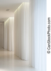 dwór, biały, nowoczesny, korytarz