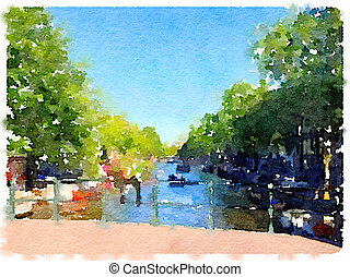 DW Amsterdam canal bridge 1 - Digital watercolor painting of...