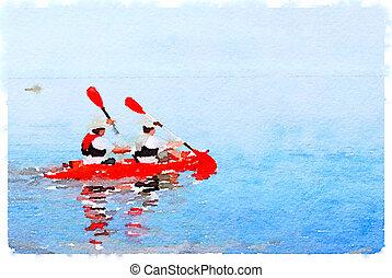 DW men in canoe