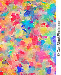 Digital watercolor painting of multi-color paints on fabric. Colors include red, pink, blue, turquoise, green and yellow.