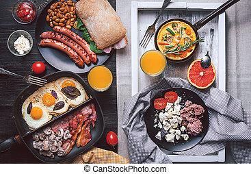 dwa, śniadanie, bogaty, high-calorie