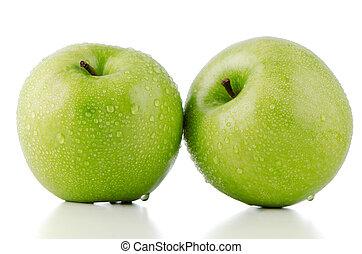 dwa, świeży, zielone jabłka
