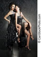dwa, adonis, uwodzenie, lesbijka, -, pragnąć, kobiety, piękny, sexy