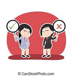 dwa, asian, kobieta interesu, debata