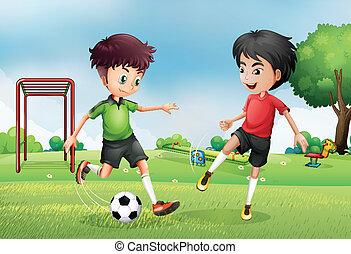 dwa chłopca, grając soccer, blisko, przedimek określony przed rzeczownikami, park