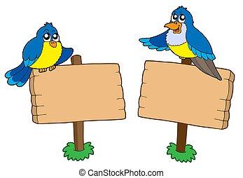 dwa, drewniany, znaki, z, ptaszki