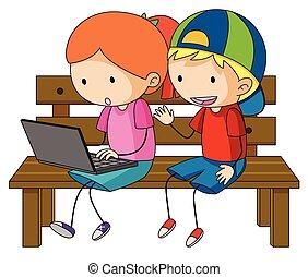 dwa, dzieciaki, pracujący dalejże, laptop komputer