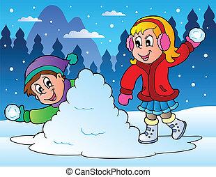 dwa, dzieciaki, wyrzucanie, śnieg piłki