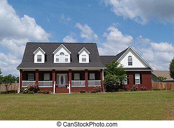 dwa historii, cegła, mieszkaniowy, dom