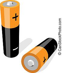 dwa, ilustracja, odizolowany, baterie, wektor, aa-size, ...