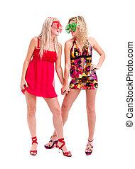 dwa kobiet, w, pomylony, klown, okulary