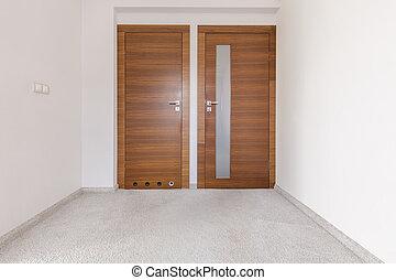 dwa, korytarz, drzwi