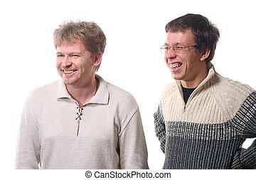 dwa, młodzi mężczyźni, śmiech