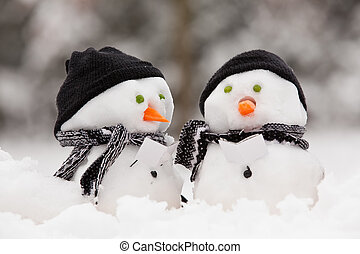 dwa, mały, snowmen