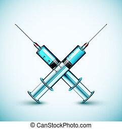 dwa, medyczny, strzykawka