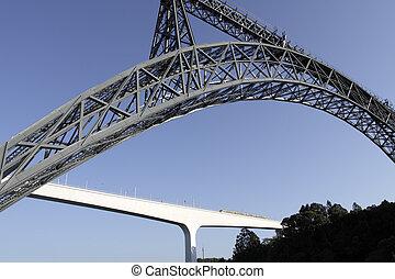 dwa, mosty, z, oporto