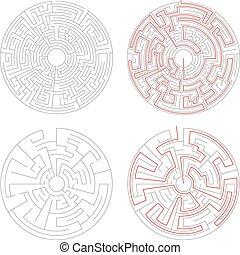 dwa, okrągły, labirynty, od, środek, kompleksowość, na białym, z, rozłączenie