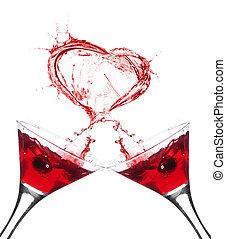 dwa, okulary czerwonego wina, abstrakcyjny, serce, bryzg