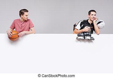dwa przyjaciela, przygotowując, dla, przedimek określony przed rzeczownikami, trening