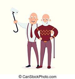 dwa, radosny, starsi mężczyźni, przyjaciele, reputacja, razem, wektor, płaski, illustration., sędziwy, ludzie, zrobienie, selfie, i, mająca zabawa, rysunek, litery, odizolowany, na białym, tło.