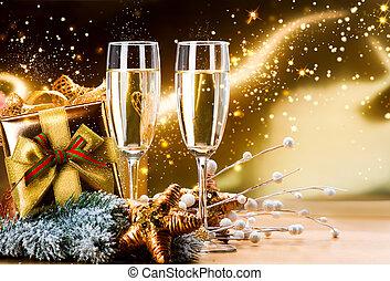 dwa, rok, nowy, szampan, boże narodzenie, celebration., okulary
