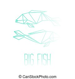 dwa, ryby, lina sztuka, z, napis, wielka ryba