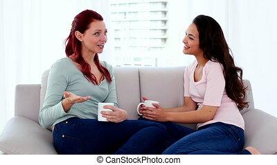 dwa, sprytny, kobiety, posiedzenie na nachylają