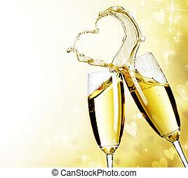dwa, szampanki, z, abstrakcyjny, serce, bryzg