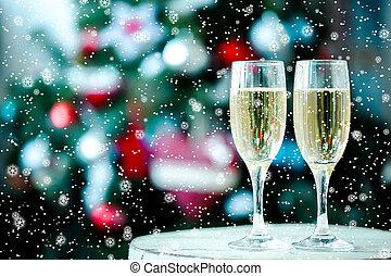 dwa, szkło, bokeh, tło, szampan, boże narodzenie