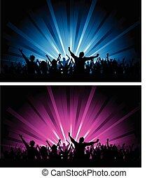 dwa, tłum, sceny