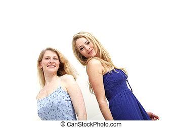 dwa, uśmiechnięta kobieta, na białym, tło