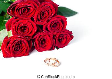 dwa, złoty, ślub