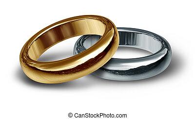 dwa, złoty, poślubne bandy