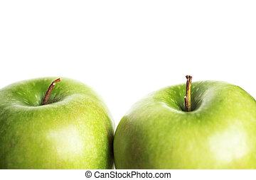 dwa, zielone jabłka