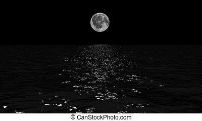 dwaas, zee, maan, maanlicht, laag, boven, steegjes