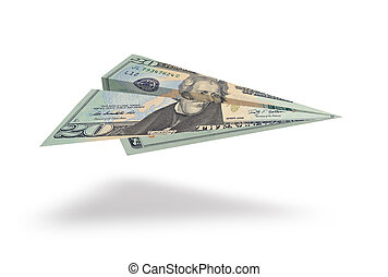 dwadzieścia dolara, odizolowany, samolot, tło, biały