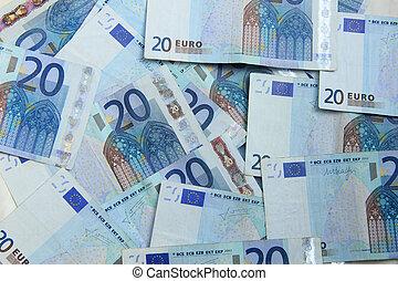 dwadzieścia, notatki, euro