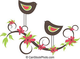 dwaj ptaszki, w, love., wektor