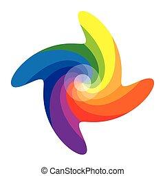 dwanaście, albo, kolor, pinwheel, koło, kolor
